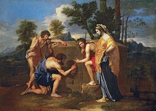 pinturas-de-retratos - Quadro -Los Pastores de Arcadia ó - Et in Arcadia ego -- - Poussin, Nicolas