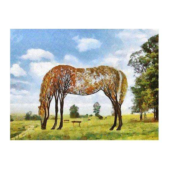 pinturas modernas - Quadro -Moderno CM9870- (caballos)