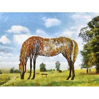 quadros de animais - Quadro -Moderno CM9870- (caballos) - Medeiros, Celito