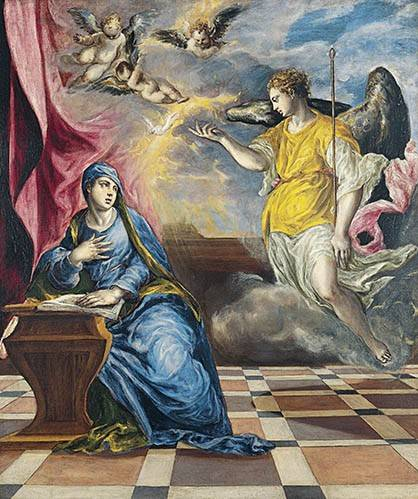quadros-religiosos - Quadro -La Anunciación, 1576- - Greco, El (D. Theotocopoulos)