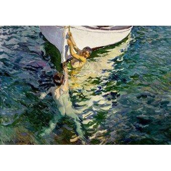 quadros de paisagens marinhas - Quadro -El bote blanco- - Sorolla, Joaquin