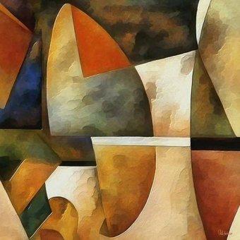 Quadros abstratos - Quadro -Moderno CM8884- - Medeiros, Celito