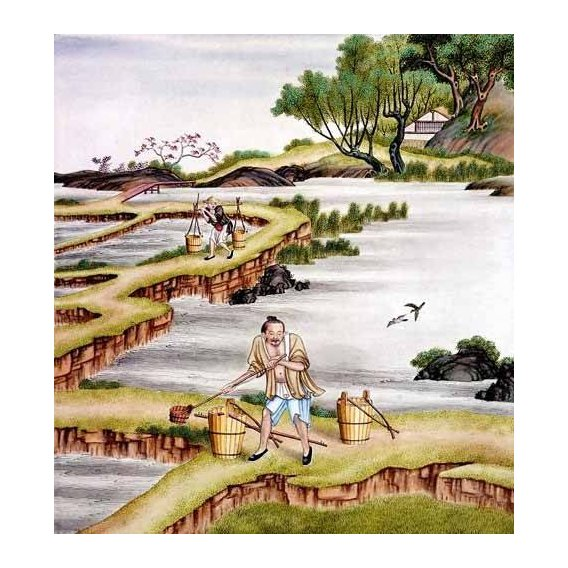ethnic and oriental paintings - Picture -Campesinos transportando agua-