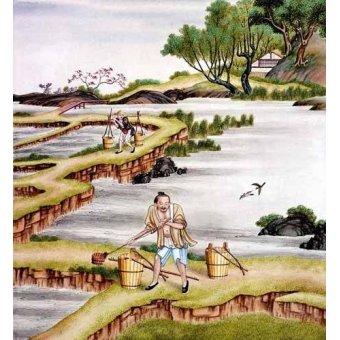 cuadros etnicos y oriente - Cuadro -Campesinos transportando agua- - _Anónimo Chino