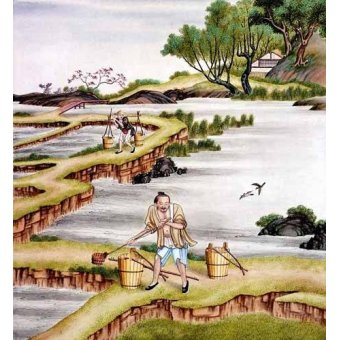 quadros étnicos e orientais - Quadro -Campesinos transportando agua- - _Anónimo Chino