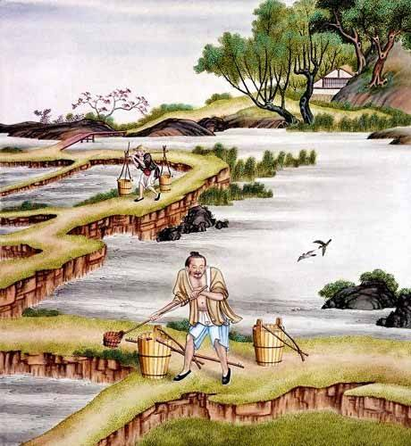 ethnic and oriental paintings - Picture -Campesinos transportando agua- - _Anónimo Chino