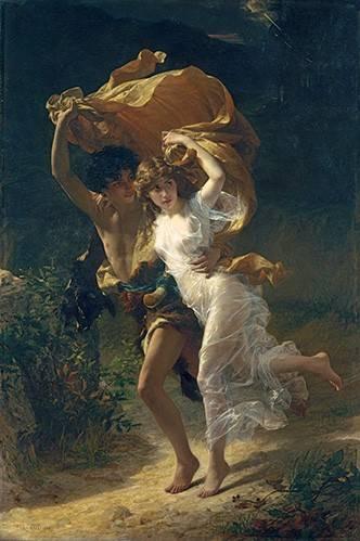 pinturas-de-retratos - Quadro -The Storm, 1880- - Cot, Pierre-Auguste