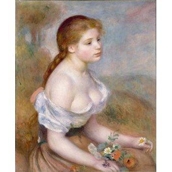 - Quadro -Jovencita con margaritas- - Renoir, Pierre Auguste