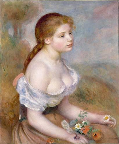pinturas-de-retratos - Quadro -Jovencita con margaritas- - Renoir, Pierre Auguste