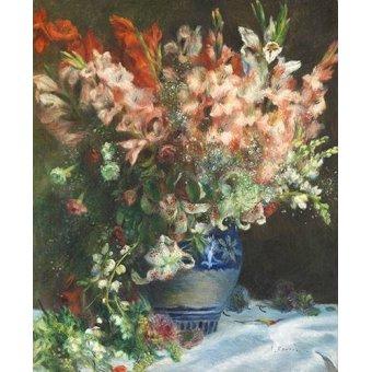 quadros de flores - Quadro -Gladiolos en un Jarron- - Renoir, Pierre Auguste