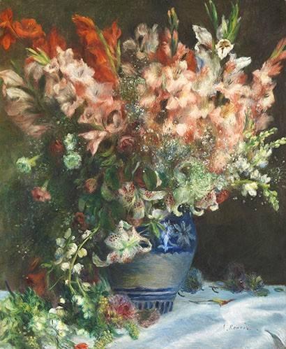 quadros-de-flores - Quadro -Gladiolos en un Jarron- - Renoir, Pierre Auguste