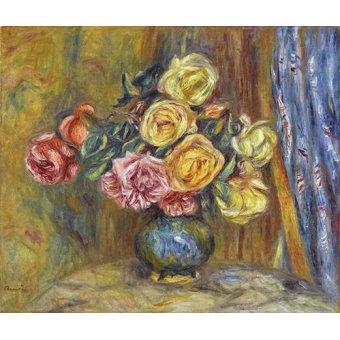 quadros de flores - Quadro -Rosas y cortina azul- - Renoir, Pierre Auguste