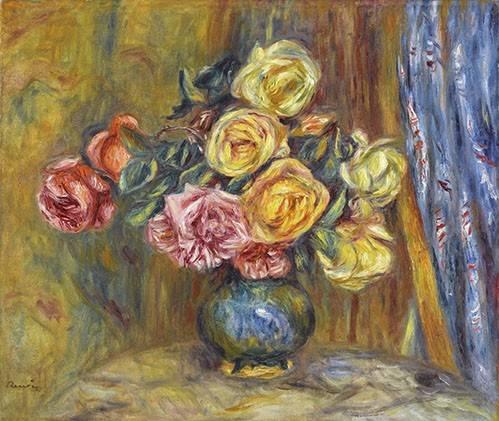 quadros-de-flores - Quadro -Rosas y cortina azul- - Renoir, Pierre Auguste