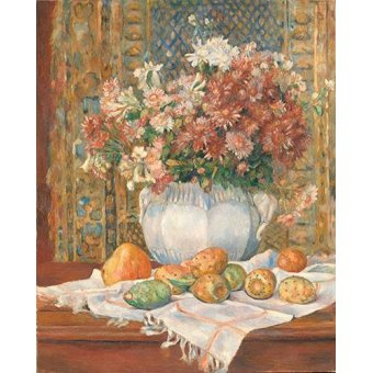naturezas mortas - Quadro -Still Life with Flowers and Prickly Pears, 1885- - Renoir, Pierre Auguste