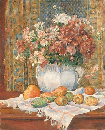 naturezas-mortas - Quadro -Still Life with Flowers and Prickly Pears, 1885- - Renoir, Pierre Auguste