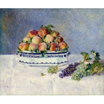 naturezas mortas - Quadro -Still Life with Peaches and Grapes, 1881- - Renoir, Pierre Auguste