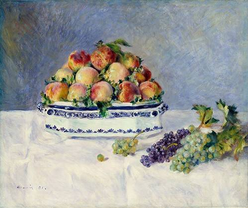 naturezas-mortas - Quadro -Still Life with Peaches and Grapes, 1881- - Renoir, Pierre Auguste