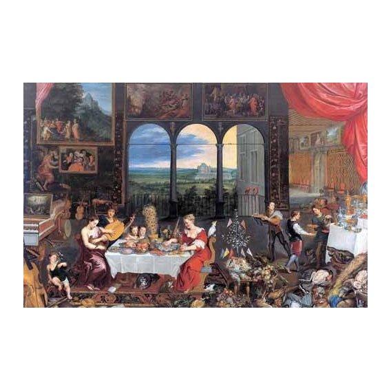 pinturas do retrato - Quadro -El gusto, el oido y el tacto-