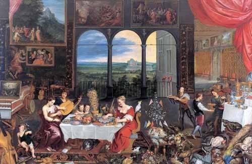pinturas-de-retratos - Quadro -El gusto, el oido y el tacto- - Bruegel