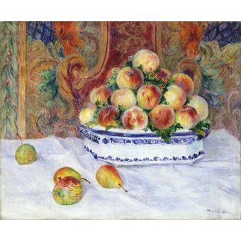 naturezas mortas - Quadro -Still Life with Peaches, 1881- - Renoir, Pierre Auguste