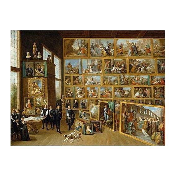 pinturas do retrato - Quadro -Archiduque Leopold William en su Galeria, Bruselas-