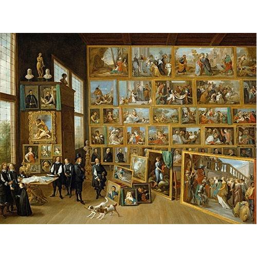 pinturas do retrato - Quadro -Archiduque Leopold William en su Galeria, Bruselas-