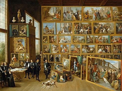 pinturas-de-retratos - Quadro -Archiduque Leopold William en su Galeria, Bruselas- - Teniers, David