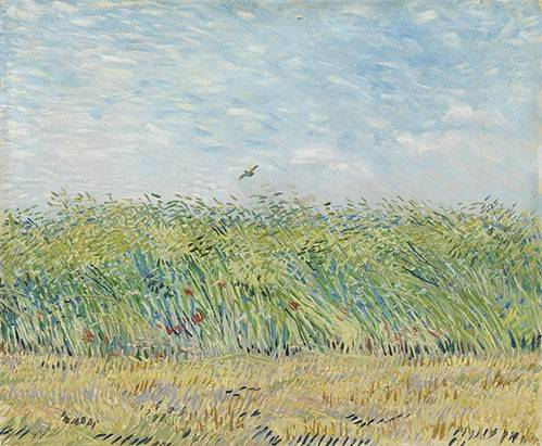 quadros-de-paisagens - Quadro -Wheatfield with Partridge,1887- - Van Gogh, Vincent