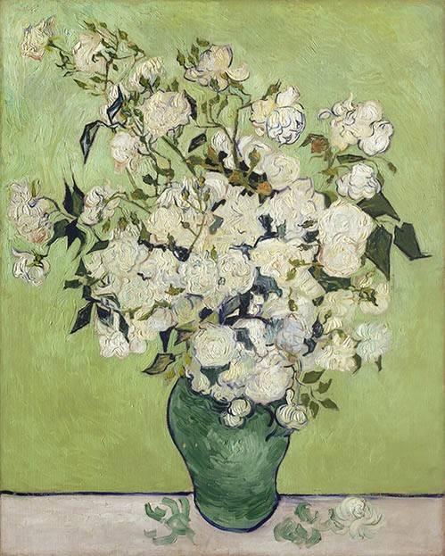 quadros-de-flores - Quadro -Vase of Roses, 1890- - Van Gogh, Vincent