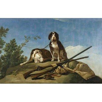 quadros de animais - Quadro -Perros en trailla, 1775_(caza)- - Goya y Lucientes, Francisco de