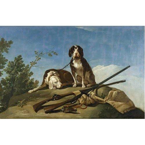 fotos de fauna - Quadro -Perros en trailla, 1775_(caza)-
