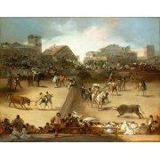 Cuadro -Corrida de toros en una plaza partida-