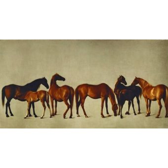 quadros de animais - Quadro -Mares and Foals- (caballos) - Stubbs, George