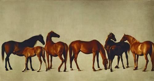 quadros-de-animais - Quadro -Mares and Foals- (caballos) - Stubbs, George