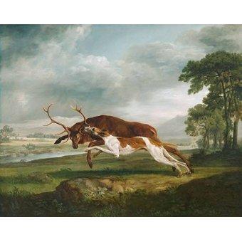 quadros de animais - Quadro -Hound Coursing a Stag- (caza) - Stubbs, George