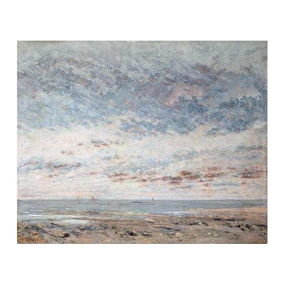 pinturas de paisagens marinhas - Quadro -Marea baja en Trouville, 1865-