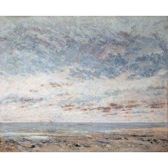 quadros de paisagens marinhas - Quadro -Marea baja en Trouville, 1865- - Courbet, Gustave