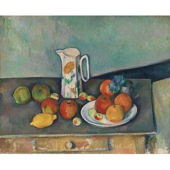 naturezas mortas - Quadro -Bodegon con frutas y jarra- - Cezanne, Paul