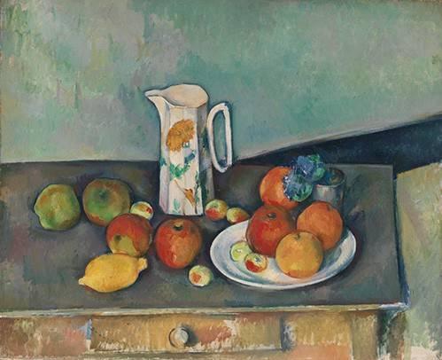 naturezas-mortas - Quadro -Bodegon con frutas y jarra- - Cezanne, Paul