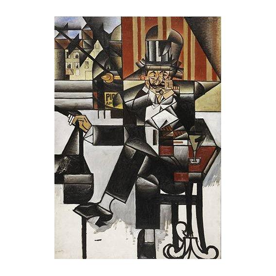 pinturas abstratas - Quadro -Man in a cafe-