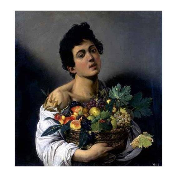cuadros de retrato - Cuadro -Joven con cesto de fruta-