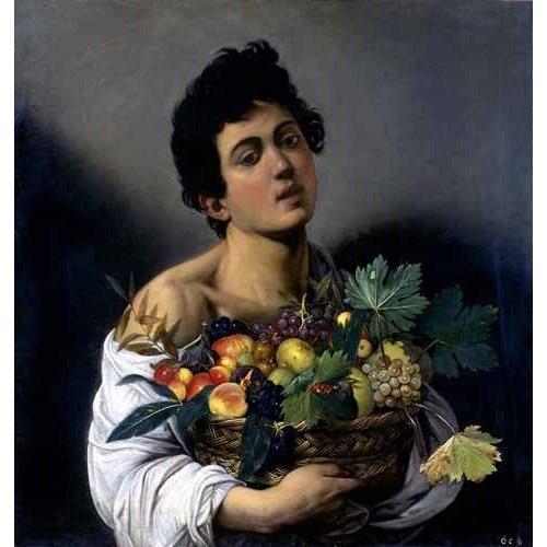pinturas do retrato - Quadro -Joven con cesto de fruta-