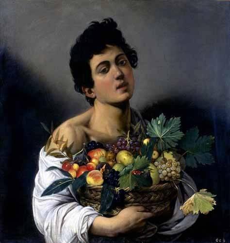 cuadros de retrato - Cuadro -Joven con cesto de fruta- - Caravaggio, Michelangelo M.