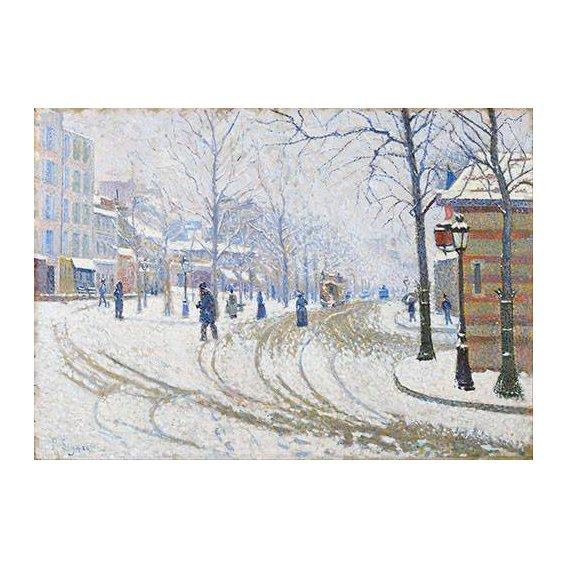pinturas de paisagens - Quadro -Snow, Boulevard de Clichy, Paris-