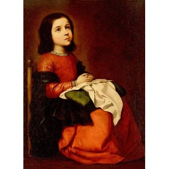 religious paintings - Picture -La Infancia De La Virgen- - Zurbaran, Francisco de