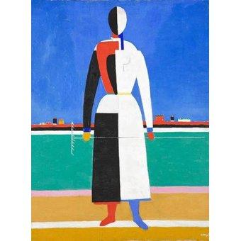 Quadros para sala de jantar - Quadro -Woman with rake, 1930-32- - Malevich, Kazimir S.