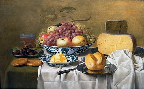 naturezas-mortas - Quadro -Still Life of Fruit and Cheese- - Schooten, Floris Gerritz Van