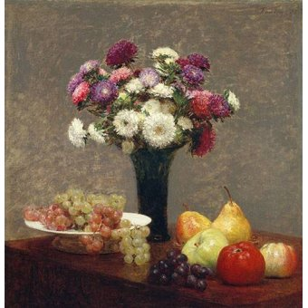 naturezas mortas - Quadro -Asters and Fruit on a Table- - Fantin Latour, Henri