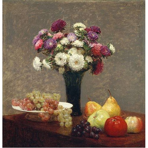naturezas mortas - Quadro -Asters and Fruit on a Table-