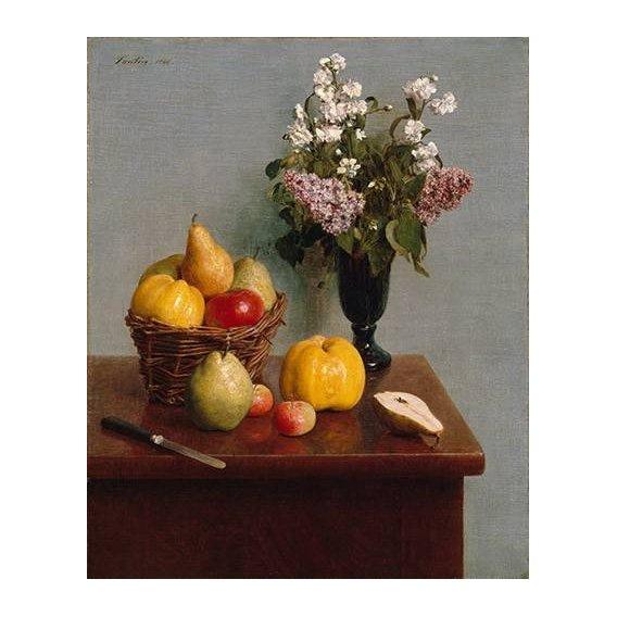 naturezas mortas - Quadro -Still Life with Flowers and Fruit-